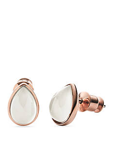 Skagen Rose Gold-Tone White Sea Glass Stud Earrings