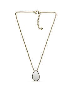 Skagen Gold-Tone White Sea Glass Pendant Necklace