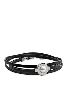 Skagen Silver-Tone and Agnethe Pearl Black Leather Bracelet