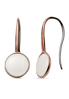 Skagen Rose Gold-Tone White Sea Glass French Wire Earring