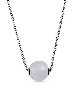Skagen Silver-Tone Sea Glass White Pearl Pendant Necklace