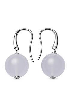 Skagen Silver-Tone Sea Glass White Pearl Drop Earrings