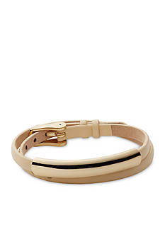 Skagen Gold-Tone Elin Natural Leather Stainless Steel Wrap Bracelet