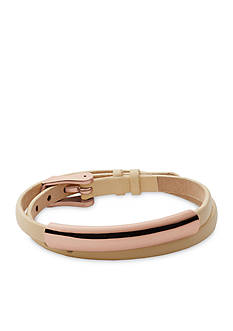 Skagen Rose Gold-Tone Elin Natural Leather and Stainless Steel Wrap Bracelet