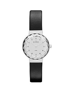 Skagen Ladies Black Leather Watch