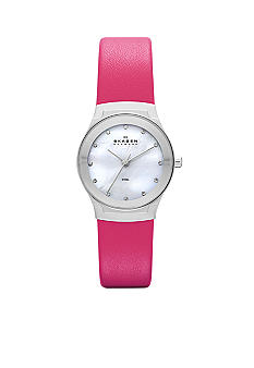 Skagen Ladies Pink Leather Watch