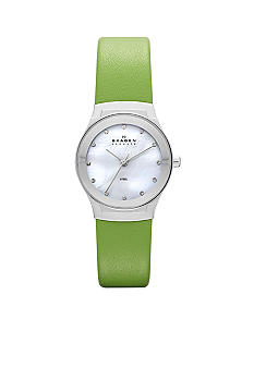 Skagen Ladies Green Leather Watch