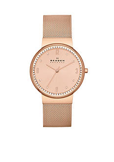 Skagen Women's Rose Gold Mesh Watch