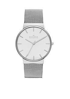 Skagen Women's Large Silver-Tone Mesh Three Hand Watch