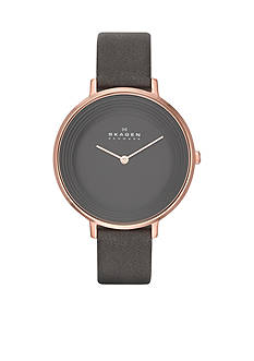 Skagen Women's Ditte Grey Leather Watch