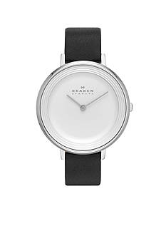 Skagen Women's Ditte Black Leather Two Hand Watch