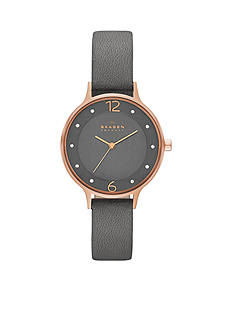Skagen Women's Anita Grey Leather Watch