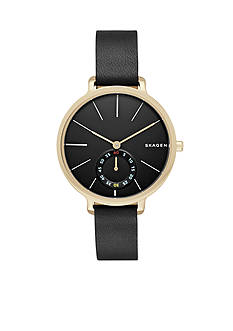 Skagen Ladies Hagen Black Leather Three Hand Watch