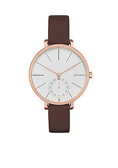 Skagen Women's Hagen Brown Leather Two Hand Watch