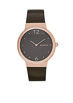 Skagen Women's Freja Brown Leather Two Hand Watch