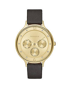 Skagen Women's Anita Black Leather Multi-Function Watch