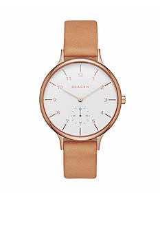 Skagen Women's Anita Light Brown Leather Rose Gold-Tone Case Watch