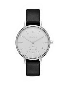 Skagen Ladies Anita Black Leather Three Hand Watch
