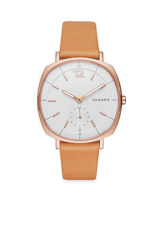Skagen Women's Rungsted Rose Gold-Tone and Natural Leather Watch