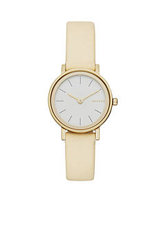 Skagen Women's Hald Gold-Tone and White Leather Three-Hand Watch