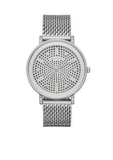 Fossil Women's Hald Silver-Tone Mesh Stainless Steel Three-Hand Watch