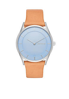 Skagen Women's Holst Tan Leather and Blue Dial Three-Hand Watch