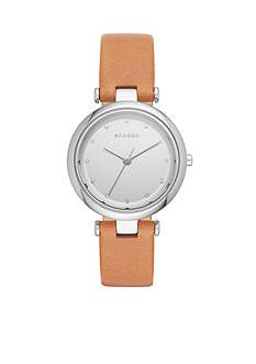 Skagen Women's Tanja Three-Hand Light Brown Leather Watch