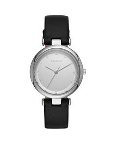 Skagen Women's Tanja Black Leather and Crystal Three-Hand Watch