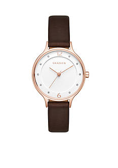 Skagen Women's Anita Rose Gold-Tone and Brown Leather Watch