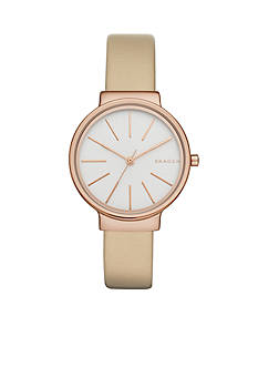 Skagen Women's Ancher Beige Leather Watch
