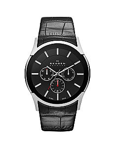Skagen Men's Black Leather Watch