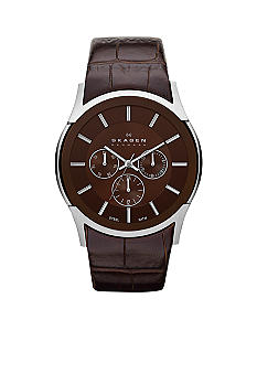 Skagen Men's Textured Brown Leather Watch