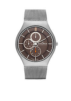 Skagen Men's Grenen Silver-Tone Mesh Multifunction Watch