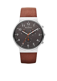 Skagen Men's Ancher Brown Leather Chronograph Watch