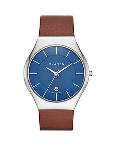 Skagen Men's Grenen Saddle Leather With Blue Dial Watch