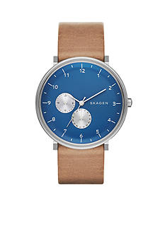 Skagen Hald Leather Blue Multifunction Watch