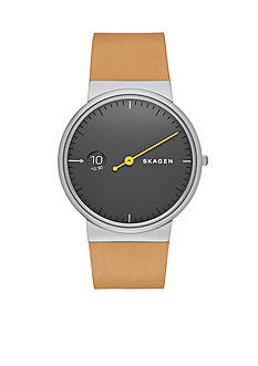 Skagen Men's Anchor Sand Leather Single Hand Watch
