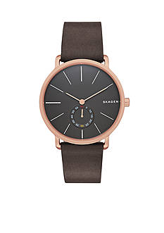Skagen Men's Hagen Brown Leather Three Hand Watch