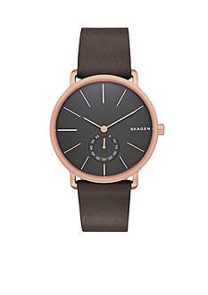 Skagen Men's Hagen Brown Leather Three Hand Watch