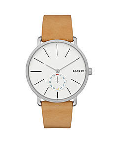 Skagen Mens Hagen Sand Leather Two Hand with Second Hand Subdial Watch