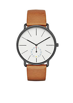 Skagen Men's Hagen Cognac Leather Three Hand Watch