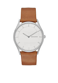 Skagen Men's Holst Brown Leather Two Hand Watch