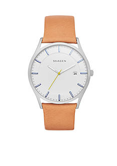Skagen Men's Holst Tan Leather Three-Hand Watch