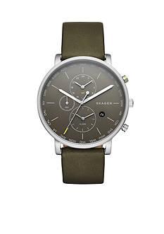 Skagen Men's Hagen World Time and Alarm Green Leather Watch