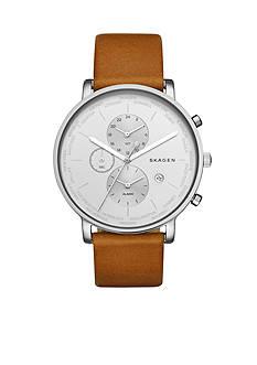 Skagen Men's Hagen World Time and Alarm Light Brown Leather Watch