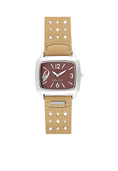Nine West Tank Watch with Cream Color Strap