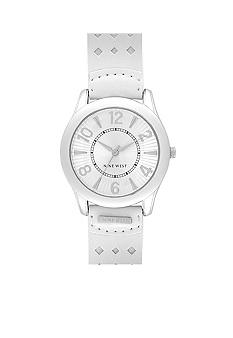 Nine West Round Silver Dial with White Strap