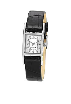 Nine West Silver Rectangular Shaped Bezel with Black Strap