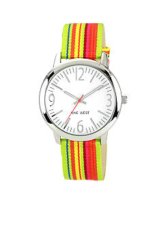 Nine West Silver Tone Round Case with Rainbow Strap