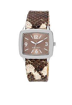 Nine West Silver Tone Modern Strap Watch